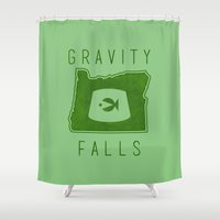 gravity falls Shower Curtains featuring Gravity Falls - Grunkle Stan's Fez (Green) by pondlifeforme