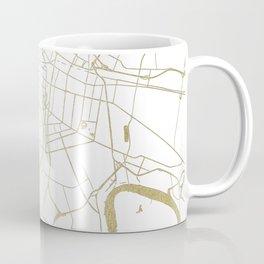 Bangkok Thailand Minimal Street Map - Gold Metallic and White II Coffee Mug
