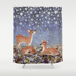 whitetail fawns under the stars Shower Curtain