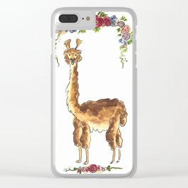 Alpaca with Flowers Clear iPhone Case