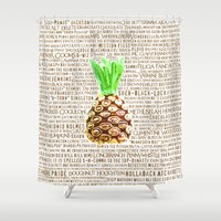 psych Shower Curtains featuring Psych Revamped! Complete List of Gus Nicknames!  by Canis Picta
