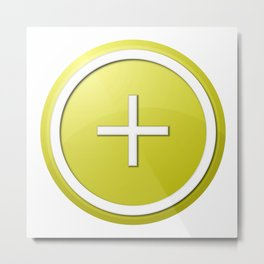 Yellow Plus Button Metal Print