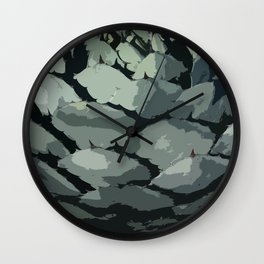 Abstract Aloe Vera Leaves Wall Clock