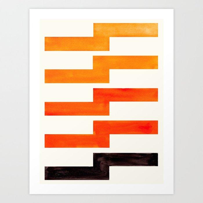 Orange Geometric Minimalist Watercolor Geometric MInimalist MidCentury Modern Lightning Bolt Pattern Kunstdrucke