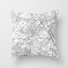 Stuttgart Map White Throw Pillow