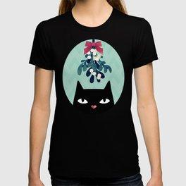 Mistletoe? (Black Cat) T-shirt
