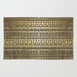 Swanky Faux Gold and Black Hand Drawn Aztec Rug