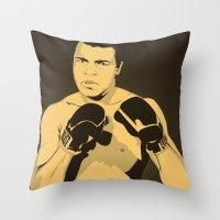 ali Throw Pillows featuring Ali by Renan Lacerda