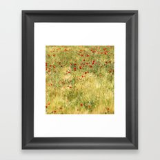 Red poppies at the fields Framed Art Print