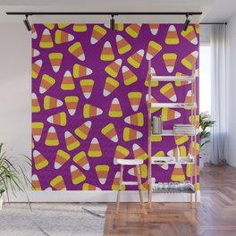 Candy Corn Jumble (purple background) Wall Mural