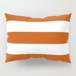 Mahogany - solid color - white stripes pattern Pillow Sham