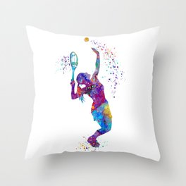Girl Tennis Watercolor Art Print Sports Nursery Home Decor Kids Room Sports Painting Gifts Throw Pillow