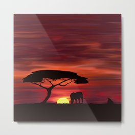 African Sunset - Africa in the Shadows Metal Print