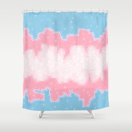 Trans Pride Flag Galaxy Shower Curtain