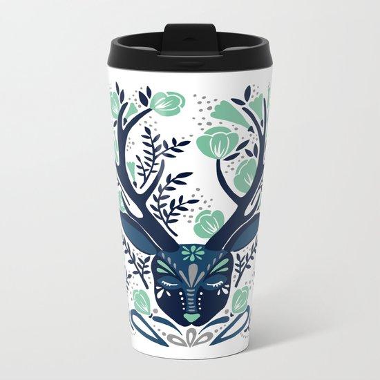 Floral Antlers – Navy & Mint Palette Metal Travel Mug