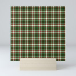 Christmas Holly Green and Red Tartan Check with Wide White Lines Mini Art Print