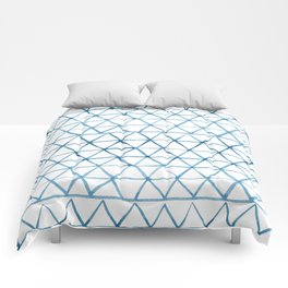 Indigo Geo Triangle Pattern Comforters