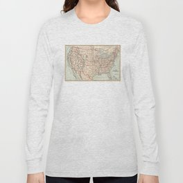 Vintage Map of The United States (1893) Long Sleeve T-shirt