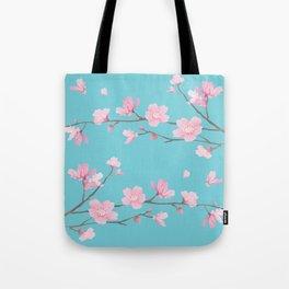 Cherry Blossom - Robin Egg Blue Tote Bag