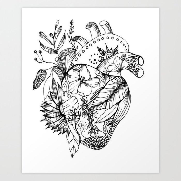 Corazón Con Flores Blanco Y Negro Art Print By Monbaltazar Society6