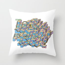 3D Cube Maze & Labyrinth Throw Pillow
