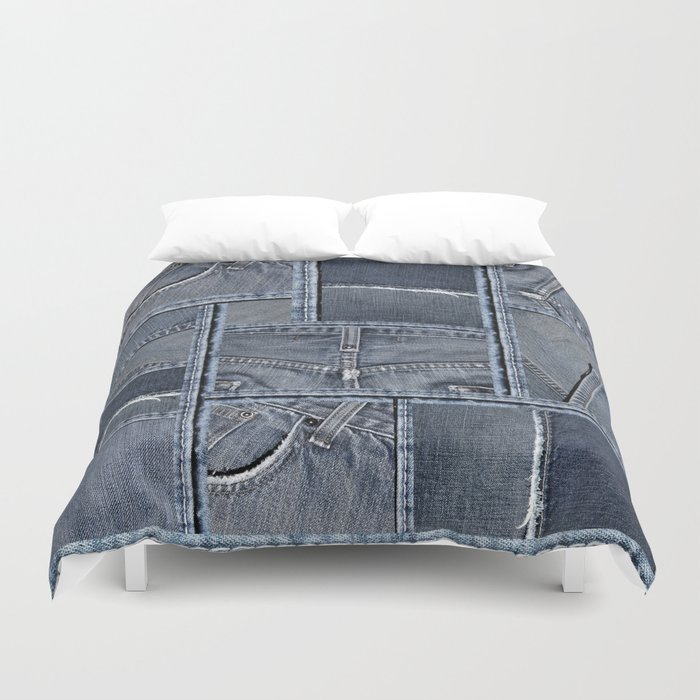 Blue Jeans Denim Patchwork Pattern Bettbezug