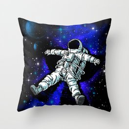 Astronaut Playing in Galaxy like Snow  Throw Pillow