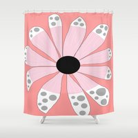 beth hoeckel Shower Curtains featuring FLOWERY  BETH / ORIGINAL DANISH DESIGN bykazandholly by by Kaz & Holly
