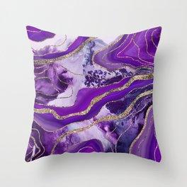 Liquid Marble Agate Glitter Glam #4 (Faux Glitter) #decor #art #society6 Throw Pillow
