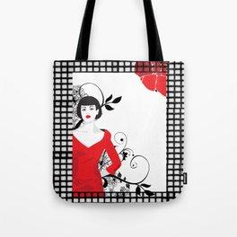 B&W+red Tote Bag