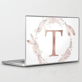 Letter T Rose Gold Pink Initial Monogram Laptop & iPad Skin