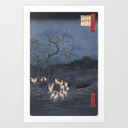 Utagawa Hiroshige - New Year's Eve Foxfires at the Changing Tree Art Print
