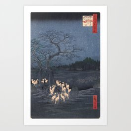 Utagawa Hiroshige - New Year's Eve Foxfires at the Changing Tree Art Print