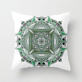 Green mandala Throw Pillow