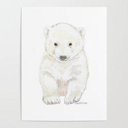 Polar Bear Cub Watercolor Painting Poster