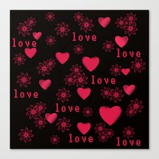 Abstract pattern with red c red hearts. Canvas Print