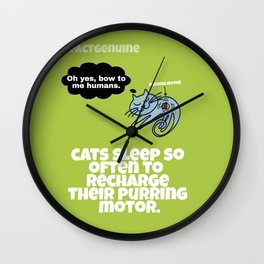 Authentic Cat Fact: Purring Motor Wall Clock