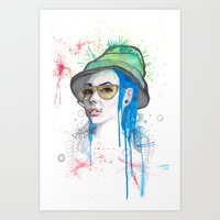 fear and loathing Art Prints featuring Fear and Loathing by Becca Douglas