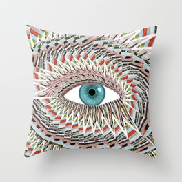 Origami Chakra Eye - Aqua Marine Blue Throw Pillow