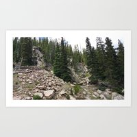 Summer in the Rockies- Rocky Mountain Side with Sub Alpine Firs Part One Art Print