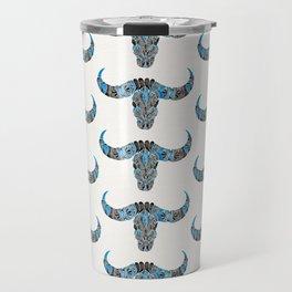 Water Buffalo Skull – Black & Blue Travel Mug
