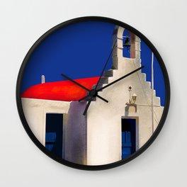 The Old Bell House - Santorini, Greece - Minimalist Travel Painting Wall Clock