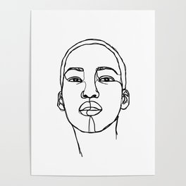 Woman's face line drawing illustration - Addie Poster