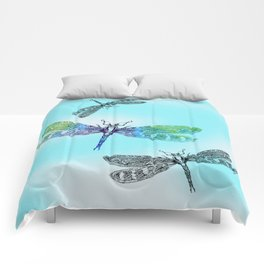 Dragonflies and Blue Skies Comforters