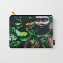 African American Masterpiece Portrait of a West African Young Woman floral painting Carry-All Pouch