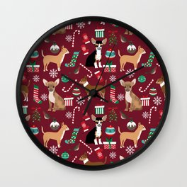 Chihuahua christmas presents dog breed stockings candy canes mittens Wall Clock