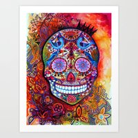sugar skull Art Prints featuring Sugar Skull by oxana zaika