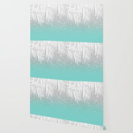Modern tropical white palm tree silver glitter ombre on robbin egg blue turquoise Wallpaper