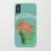 wisconsin iPhone & iPod Cases featuring Wisconsin Map by Stephanie Marie Steinhauer