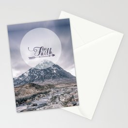 Have Faith Inspirational Typography Over Mountain Stationery Cards